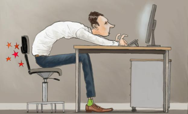 Primer sključenega sedenja.